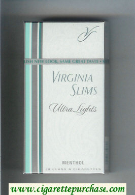 Discount Virginia Slims Ultra Lights 100s Menthol cigarettes hard box