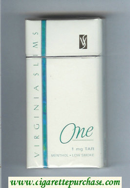Virginia Slims One Menthol 100s cigarettes hard box