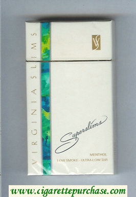 Discount Virginia Slims Superslims 100s Menthol cigarettes hard box