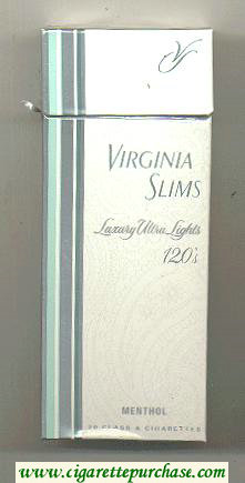 Discount Virginia Slims Luxury Ultra Lights 120s Menthol cigarettes hard box