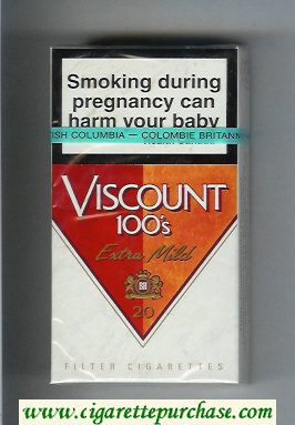 Viscount 100s Extra Mild cigarettes hard box
