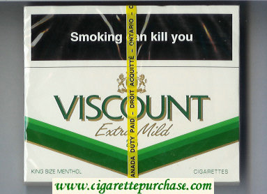 Viscount Extra Mild Menthol 25s cigarettes wide flat hard box