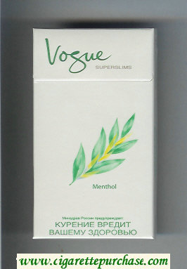 Vogue Superslims Menthol 100s cigarettes hard box