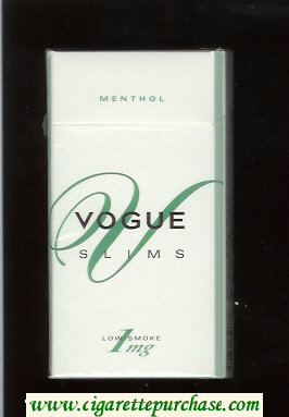 Vogue V Slims Menthol 100s cigarettes hard box