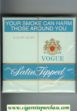 Vogue Satin Tipped Luxury Light cigarettes wide flat hard box