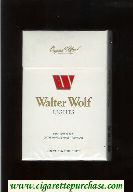 Walter Wolf Lights Original Blend cigarettes white hard box