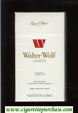 Walter Wolf Lights 100s Original Blend cigarettes white hard box