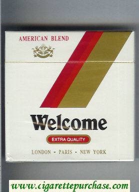 Welcome American Blend Extra Quality cigarettes wide flat hard box