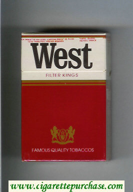 West Filter Kings cigarettes hard box