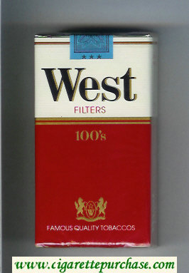West Filters 100s cigarettes soft box