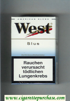 West 'R' Blue American Blend cigarettes hard box