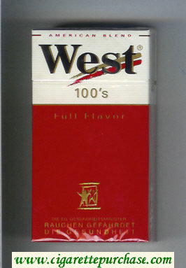 West 'R' 100s Full Flavor American Blend cigarettes hard box