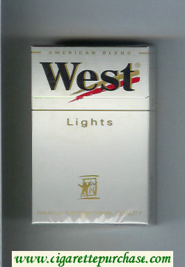 West 'R' Lights American Blend cigarettes hard box