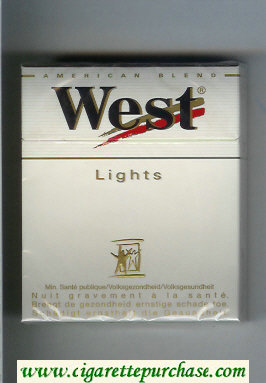West 'R' Lights 25s American Blend cigarettes hard box