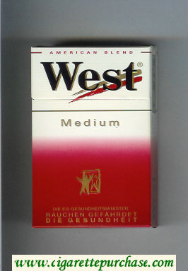 West 'R' Medium American Blend cigarettes hard box