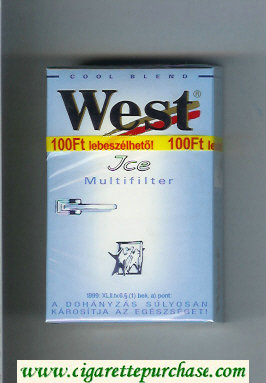 West 'R' Multifilter Ice Cool Blend cigarettes hard box