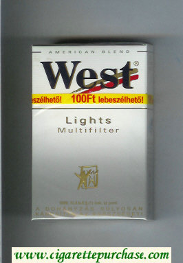 West 'R' Multifilter Lights American Blend cigarettes hard box