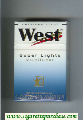West 'R' Multifilter Super Lights American Blend cigarettes hard box
