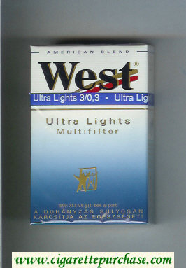 West 'R' Multifilter Ultra Lights American Blend cigarettes hard box