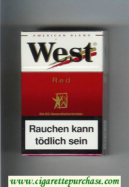 West 'R' Red American Blend cigarettes hard box
