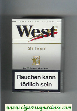 West 'R' Silver American Blend cigarettes hard box