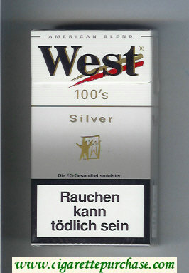 West 'R' 100s Silver American Blend cigarettes hard box