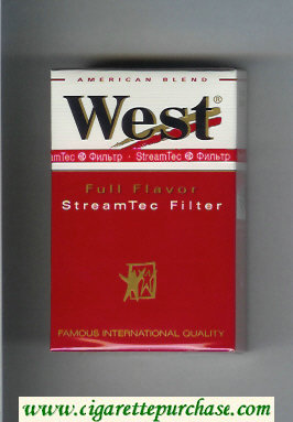 West 'R' Full Flavor StreamTec Filter American Blend cigarettes hard box