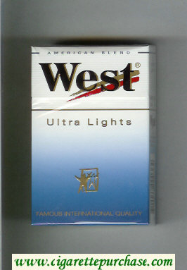 West 'R' Ultra Lights American Blend cigarettes hard box