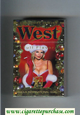 West 'R' Christman Edition Full Flavor hard box cigarettes