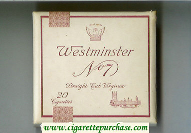 Westminster No 7 Straight Cut Verginia cigarettes wide flat hard box