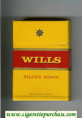 Wills Filter Kings cigarettes yellow hard box