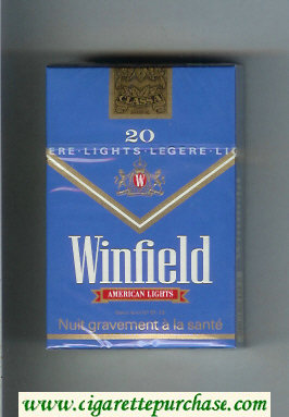 Winfield American Lights Cigarettes blue hard box