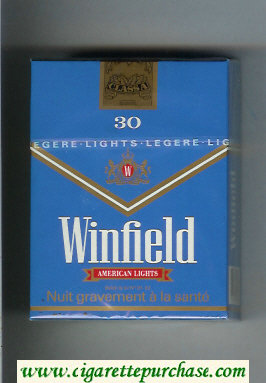 Discount Winfield American Lights 30 Cigarettes blue hard box