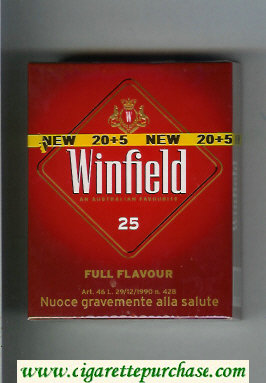 Winfield Full Flavour An Australian Favourite 25 Cigarettes red hard box