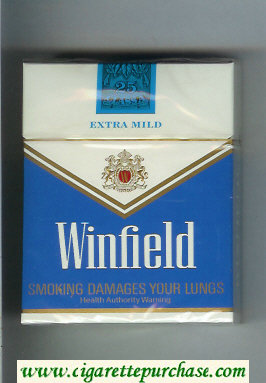 Winfield Extra Mild 25 Cigarettes blue and white hard box