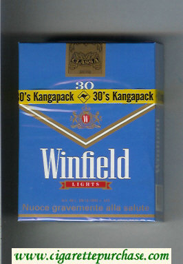 Winfield Lights 30 Cigarettes blue hard box