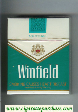 Discount Winfield Menthol 25 Cigarettes green and white hard box