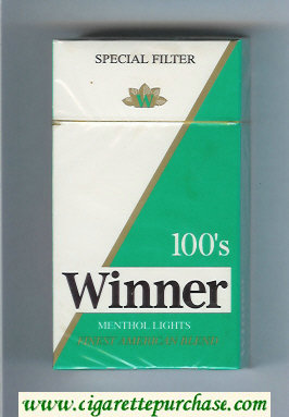 Winner Menthol Lights 100s Special Filter Cigarettes hard box