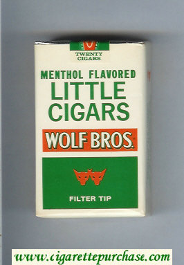 Wolf Bros Little Cigars Menthol Flavored Cigarettes white and green soft box