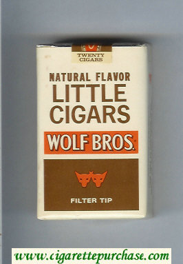 Wolf Bros Little Cigars Naturel Flavored Cigarettes white and brown soft box