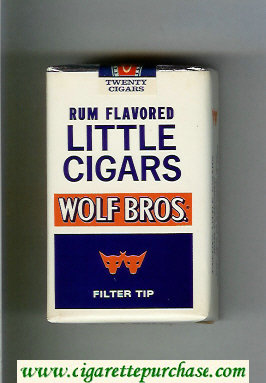 Wolf Bros Little Cigars Rum Flavored Cigarettes white and blue soft box