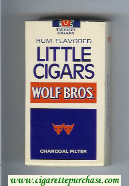 Wolf Bros Little Cigars Rum Flavored 100s Cigarettes white and blue soft box