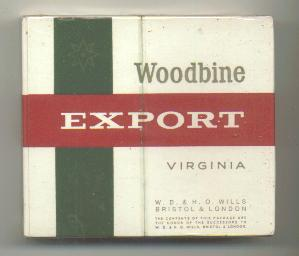 Woodbine EXPORT Virginia Cigarettes wide flat hard box
