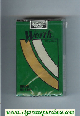 Worth Menthol Full Flavor Cigarettes soft box