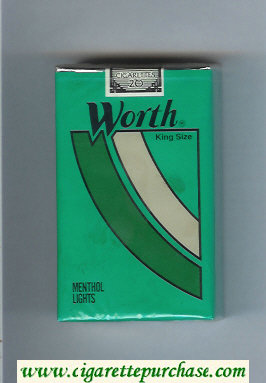 Worth Menthol Lights Cigarettes soft box