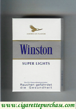 Discount Winston American Flavor Super Lights cigarettes hard box