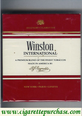 Discount Winston International 100s cigarettes wide flat hard box