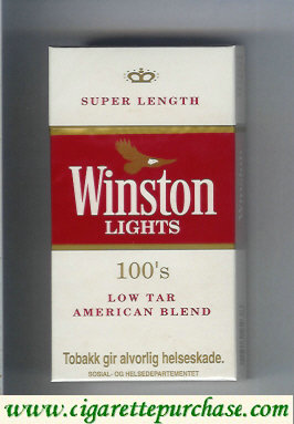 Discount Winston Lights white and red 100s cigarettes hard box