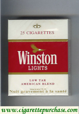 Discount Winston Lights white and red 25s cigarettes hard box