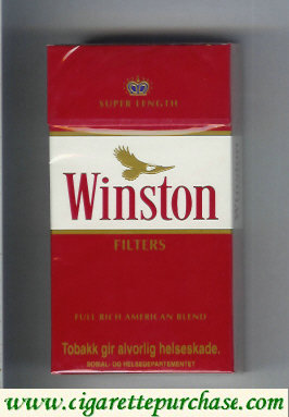 Discount Winston with eagle from above Filters on red 100s cigarettes hard box